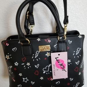 Betsey Johnson satchel labrie blk/red
